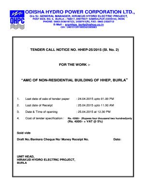 Draft Tender Notice For Residential Building