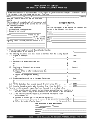 Fillable itemized disposition of security deposit form
