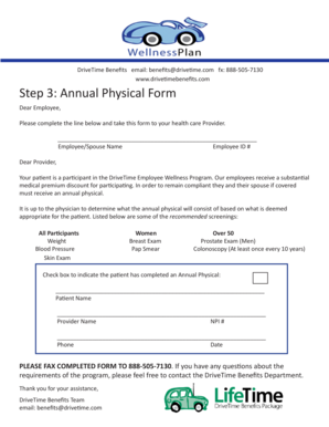 fillable online step 3 annual physical form drivetime benefits fax