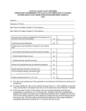 Fillable Online ANNUAL LEASE VALUE METHOD EMPLOYERS WORKSHEET TO ...