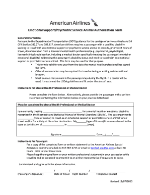 Fillable Online ESAN Form 12 07 2015 - American Airlines Fax Email ...