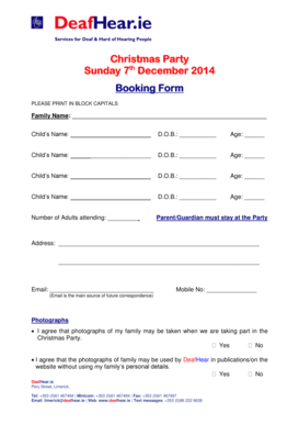 Christmas Party Sunday 7th December 2014 Booking Form PLEASE PRINT IN BLOCK CAPITALS Family Name: Childs Name: D