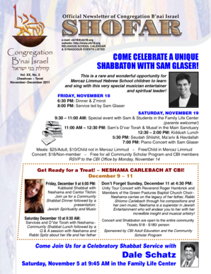 & SYNAGOGUE EVENTS LISTED