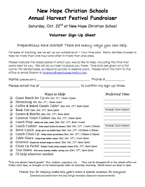 HF Volunteer Sign Up Form 20111doc
