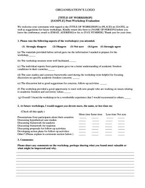 Sample Workshop Evaluation Questionnairedoc Fill Online