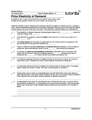 Price Elasticity Of Demand Tutor2u - Fill Online, Printable