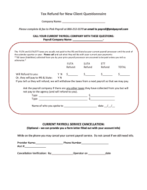 Fillable Online Tax Refund For New Client Questionnaire