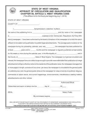 Affidavit for Qualified Newspapers - Secretary of State - State of West - wvpress