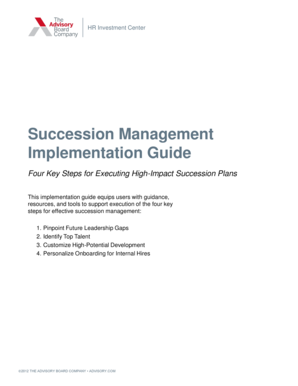 Succession Management Implementation Guide - The Advisory
