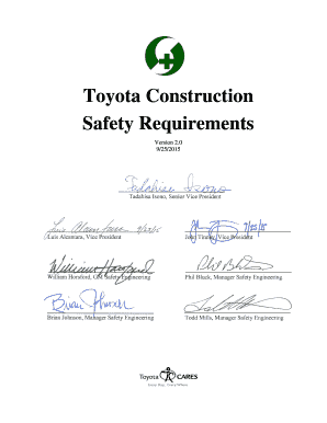 FINAL DRAFT TOYOTA CONSTRUCTION SAFETY REQUIREMENTS