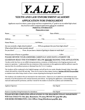 YOUTH AND LAW ENFORCEMENT ACADEMY APPLICATION FOR ENROLLMENT