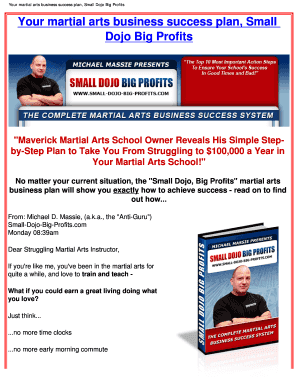 Fillable online your martial arts business success plan small dojo rate this form fandeluxe Choice Image