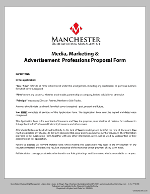 Media Marketing Advertisement Professions Proposal Form