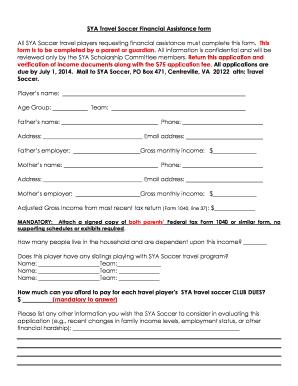 Fillable online syasoccer addendum to sya scholarship application fill online publicscrutiny Gallery