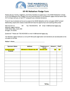 walkathon pledge forms
