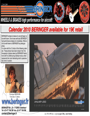 Calendar 2010 BERINGER available for 19 retail