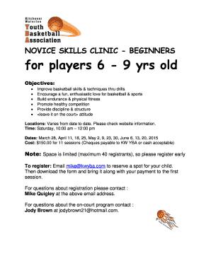 NOVICE SKILLS CLINIC - BEGINNERS for players 6 - 9 yrs old