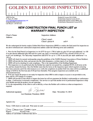 New Construction Final Punch List Or Warranty Inspection Fill Online