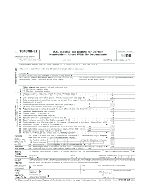 SPECIFICATIONS TO BE REMOVED BEFORE PRINTING INSTRUCTIONS TO PRINTERS FORM 1040NREZ, PAGE 1 OF 2 MARGINS