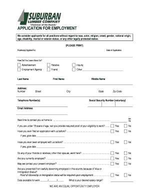 fillable online employment application form suburban lumber co fax
