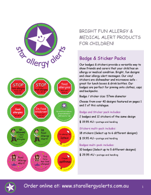 Print product catalogue - Kids Food Allergy Stickers