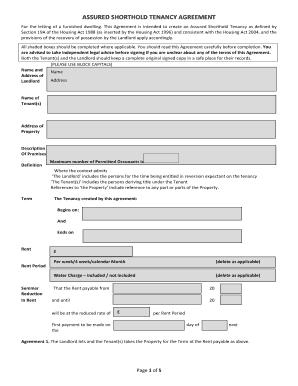 Assured Shorthold Tenancy Agreement Template Word Edit Print