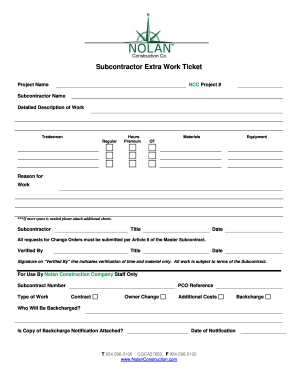 Fillable online subcontractor extra work ticket nolan Find subcontracting work