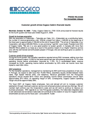 PRESS RELEASE For immediate release Customer growth - Cogeco