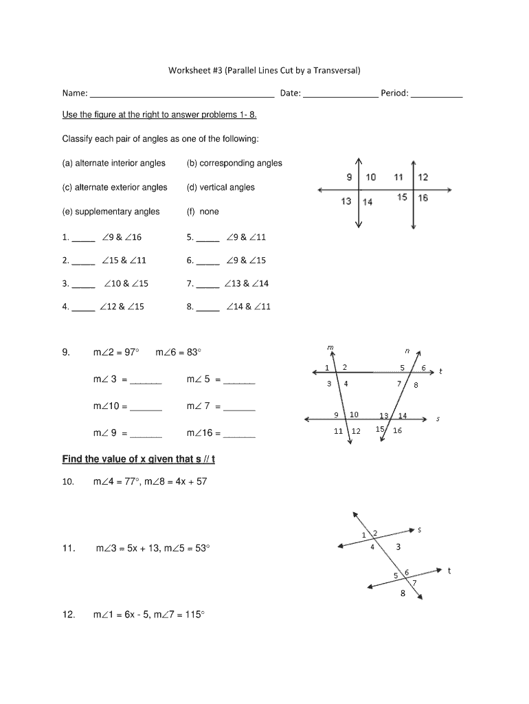 Parallel Lines Cut By A Transversal Worksheet 8th Grade Pdf Fill Online Printable Fillable Blank Pdffiller