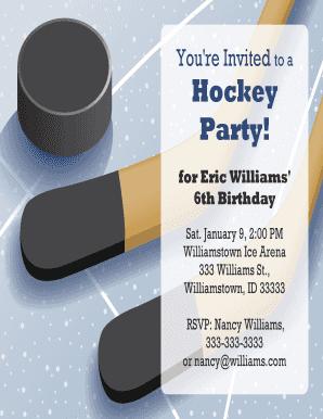 Fillable Online Printable Hockey Party Invitations 1 V2 Printable