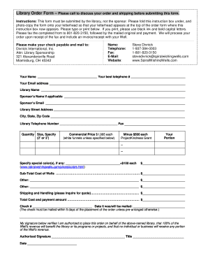 Library Order Form Please call to discuss your order and