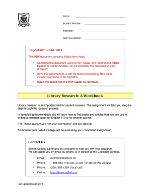Library Research Workbook - Selkirk College