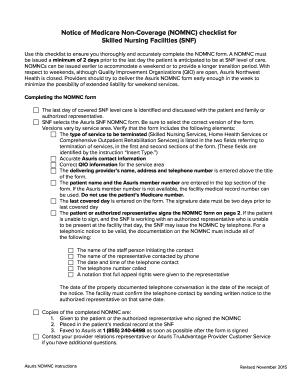 Fillable Online Notice of Medicare Non-Coverage NOMNC checklist ...
