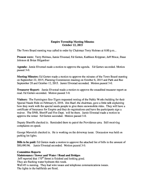 Empire Township Meeting Minutes