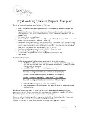 Royal Wedding Specialist Program Description