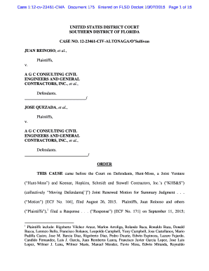 Case 112cv23461CMA Document 175 Entered on FLSD Docket 10072015 Page 1 of 15