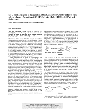 Si-C bond activation in the reaction of first generation Grubbs catalyst with alkynylsilanes - formation of Cl2PC6H1132RuCHCHCHPh and disiloxanes
