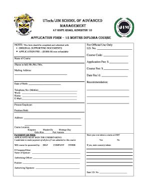Transcript application form.