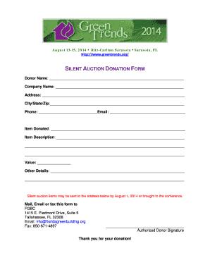 silent auction form pdf