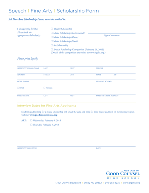 Speech I Fine Arts I Scholarship Form - Our Lady of Good
