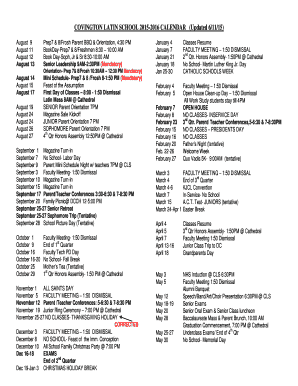 COVINGTON LATIN SCHOOL 2015-2016 CALENDAR Updated 61115