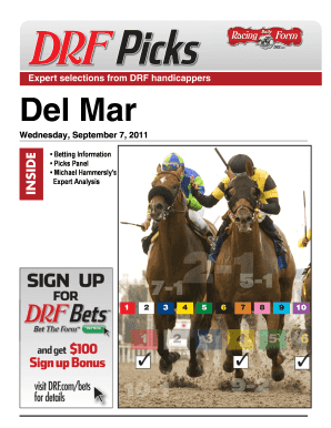 Fillable Online Del Mar - Daily Racing Form Fax Email Print