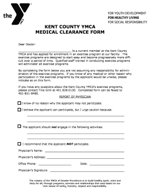 KENT COUNTY YMCA MEDICAL CLEARANCE FORM   Ymcagreaterprovidence