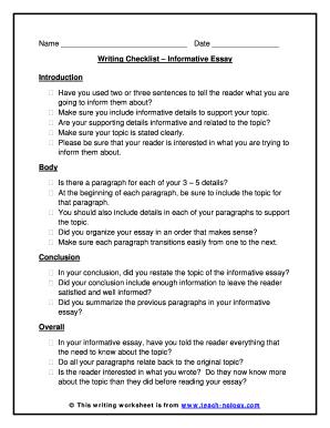 fillable online informative essay writing checklist   teach