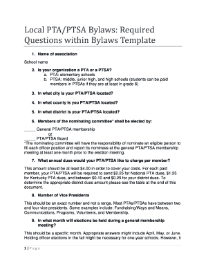 Local PTAPTSA Bylaws Required Questions within Bylaws - 15thdistrictpta