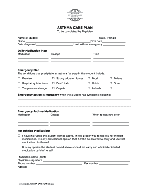 Fillable asthma care plan for school Samples to Complete ...