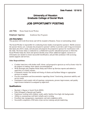 Fillable Online sw uh Home Study Social Worker - sw uh Fax