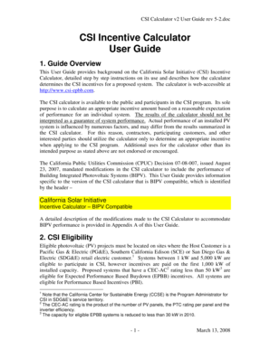 Fillable online csi calculator v2 user guide rev 5-2doc fax email.