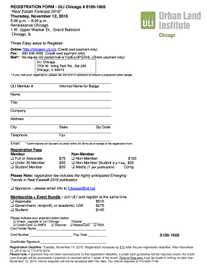 REGISTRATION FORM   ULI Chicago 8106 1605 Real Estate  Down Payment Receipt