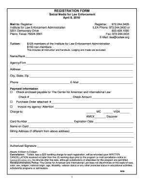 REGISTRATION FORM Social Media for Law Enforcement A - cailaw